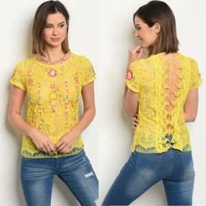 Tops - Boho Embroidered Lace up Back Yellow Festival Top